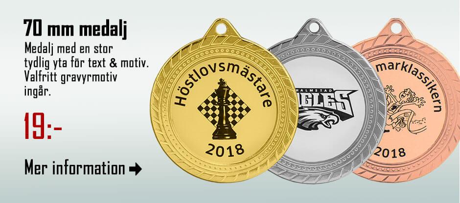 70 mm medalj med gravyrmotiv